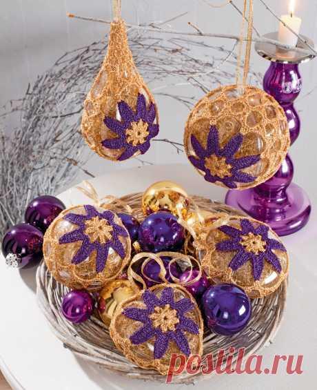Adornamientos de Año Nuevo con los colores de color lila - el esquema de la labor de punto por el gancho.