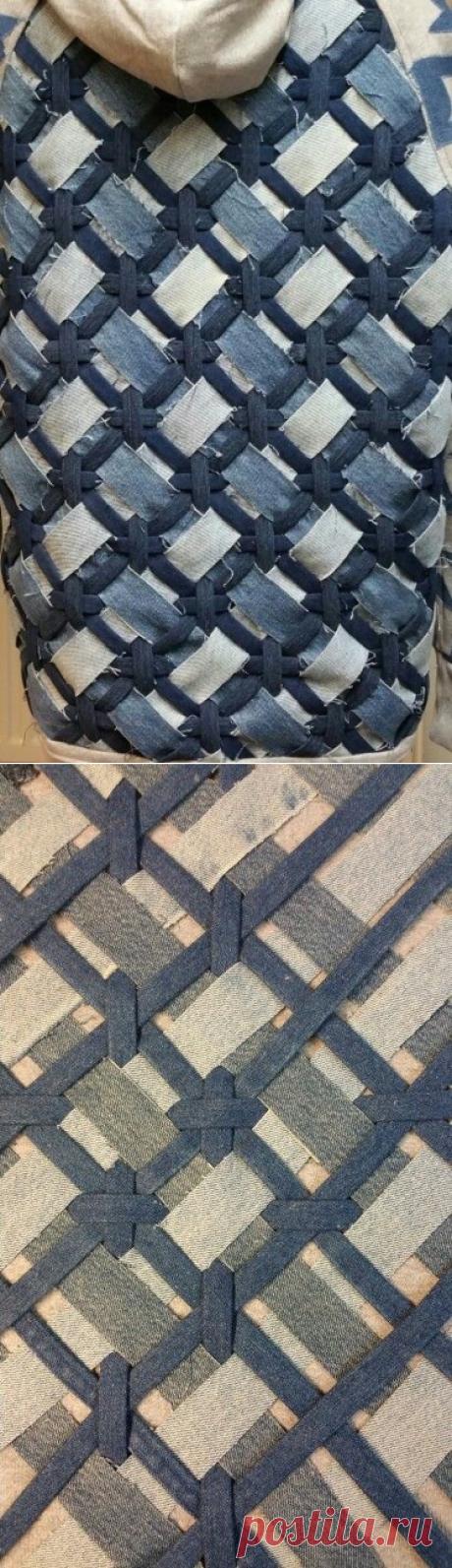 Плетённая джинсовая фактура
