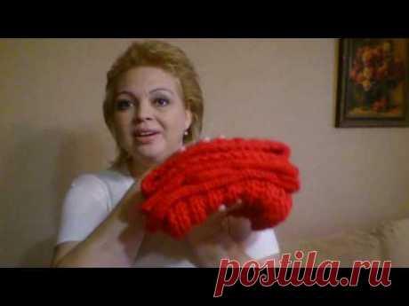 Красный зимний комплект спицами: шапка, шарф и варежки)))