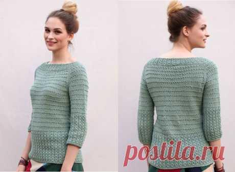 2 похожих винтажных пуловера реглан разными техниками вязания до 56 размера спицами – схема и описание — Пошивчик одежды