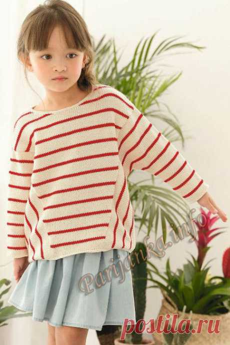 Пуловер в полоску (д) 14*151 Phildar №5080