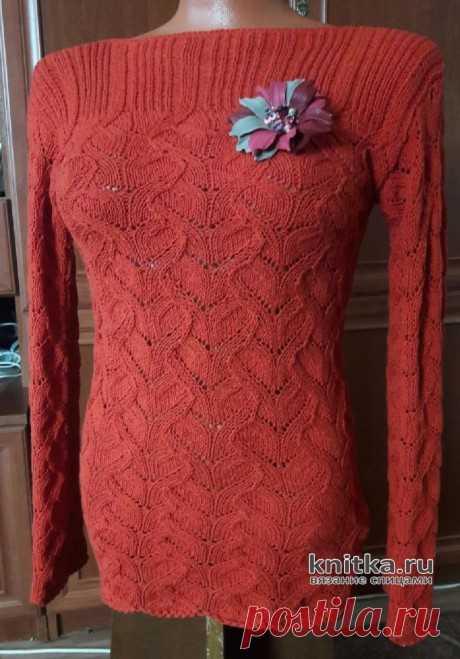Вязаный пуловер с красивым узором. Работа Марины Ефименко, Вязание для женщин