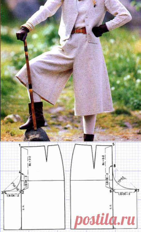 Выкройки женской одежды. Юбка-брюки. | Иллюстрированные курсы по кройке и шитью. Хотите сшить юбку брюки, но не знаете какую использовать выкройку? Мы подскажем :)