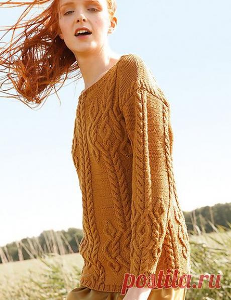 Охристый свитер с аранами из Rebecca 60.
