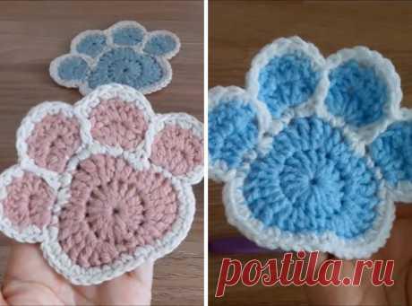 Crochet Paw Coaster You Can Make Easily | CrochetBeja
