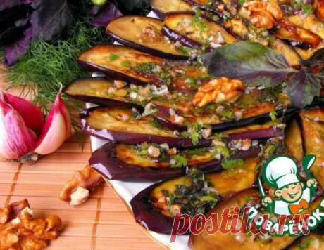 Баклажаны под зеленым соусом с орехами – кулинарный рецепт