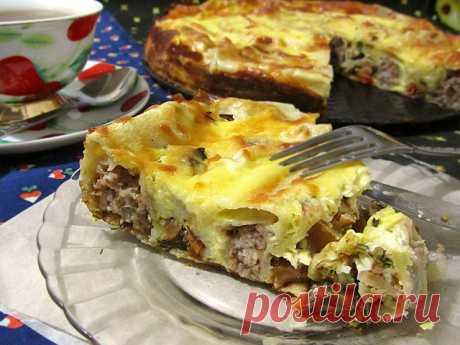 Пирог из лаваша с фаршем в духовке - рецепт с фото / Простые рецепты
