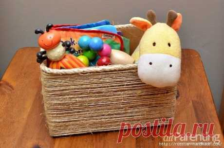 Органайзер из коробки — декорирование шпагатом