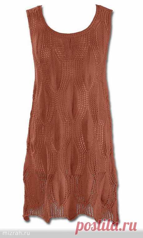 Туника-безрукавка (платье) спицами от Junghanswolle.