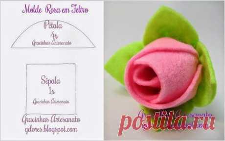 ARTE COM QUIANE - Paps e Moldes de Artesanato : Molde Rosa de feltro fácil de fazer