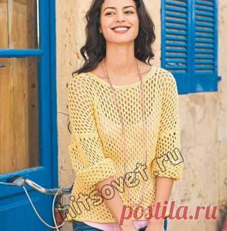 Пуловер сетка - Хитсовет Пуловер сетка. Летняя модель женского пуловера оверсайз ванильного цвета с симпатичным ажурным сетчатым узором из хлопковой пряжи со схемой и бесплатным описанием вязания.