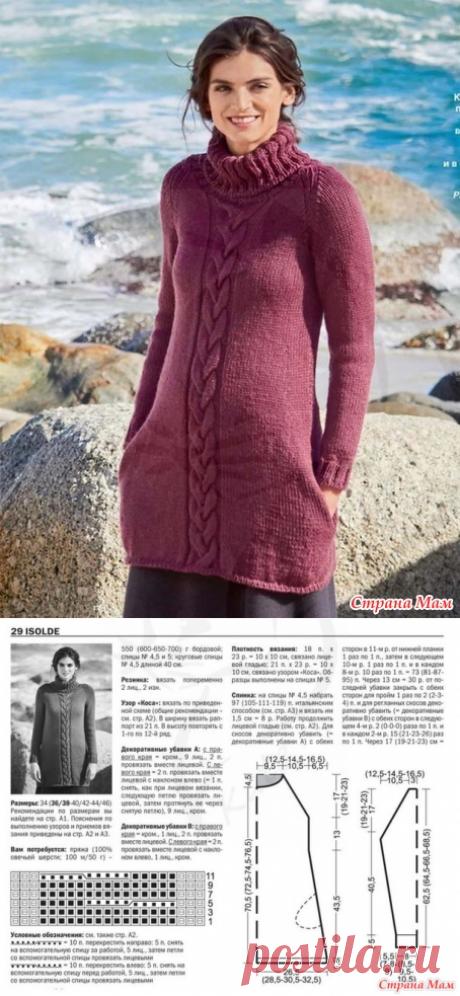 Теплое платье-туника с косой (описание) - Вязание - Страна Мам