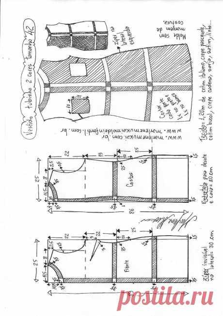 Выкройка интересного платья на размеры от 36 до 56 (Шитье и крой) – Журнал Вдохновение Рукодельницы