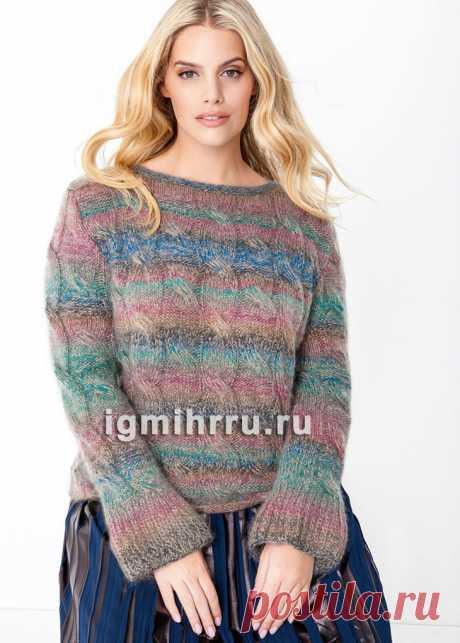 Для полных дам. Пуловер из пряжи с эффектом деграде и «косами». Вязание спицами