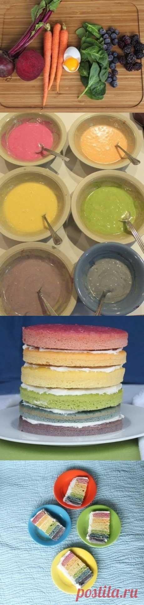 Торт Радуга с натуральными красителями
