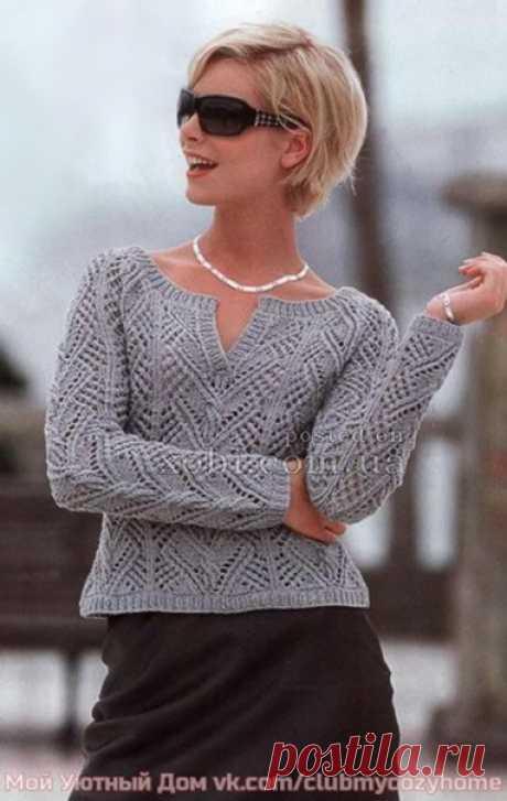 Ажурный пуловер реглан Этот пуловер реглан связан спицами ажурным узором. Замечательно подойдет для весенних и осенних дней.  Размер: 34/36.  Вам потребуется: 450 г серой пряжи Scooter (55% хлопка, 36% полиакрила, 9% полиамида, 85 м/50 г); спицы № 3.5 и № 4; круговые спицы № 3.5.  Резинка: попеременно 1 лиц., 1 изн.   Ажурный узор: число петель кратно 27 2 кром. Вязать по схеме, на которой приведены только лиц. р., в изн. р. петли вязать по рисунку, накиды -изн. или по обо...