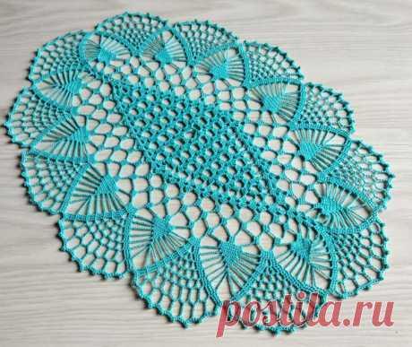 Ажурная голубая салфетка Схема вязания крючком ажурной очаровательной голубой салфетки