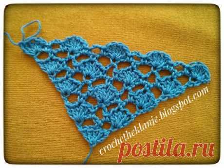 Crochet Heklanje: Moj rad 56 - Trokutasti šal 3