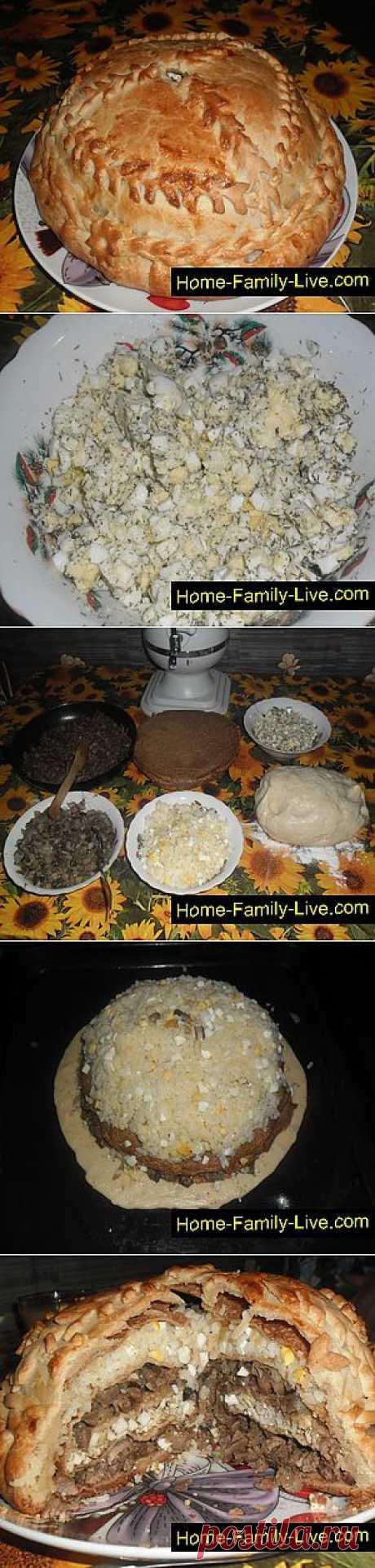 Кулинарные рецепты Курник - пошаговый фоторецепт - сборный блинный пирог с курицей и гриб
