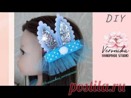 🐰Заколка Бантик Заячьи ушки МК🐰 DIY tutorial Bunny Ear Hair bow🐰 Laço de Páscoa Coelhinho🐰