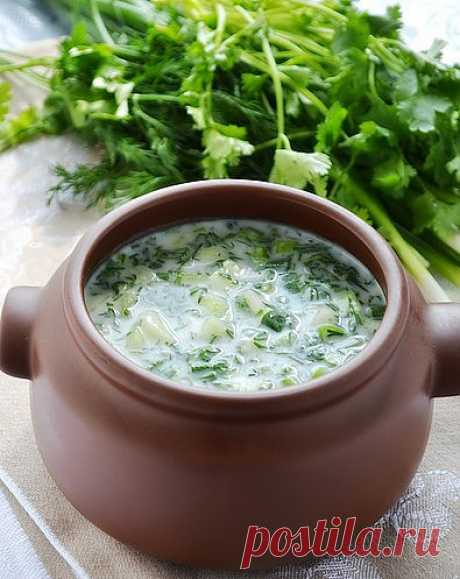 Okroshka on the matsena. Matsun or the Yoghurt — dairy drink of the Armenian origin. Prepares from boiled milk of cows, sheep, goats, buffalo s or their mix.