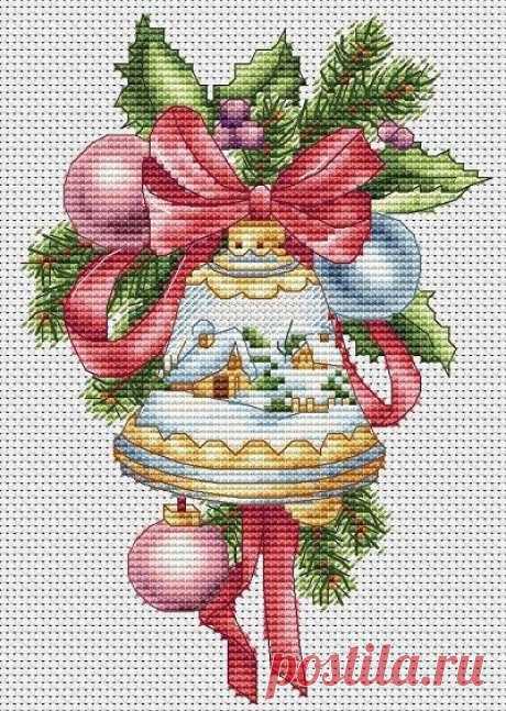 Рождественский колокольчик с зимним рисунком - Клуб вышивки крестом