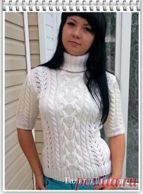 ГАЛКИН ДНЕВНИК : Летний, женский свитер с коротким рукавом, связанный спицами