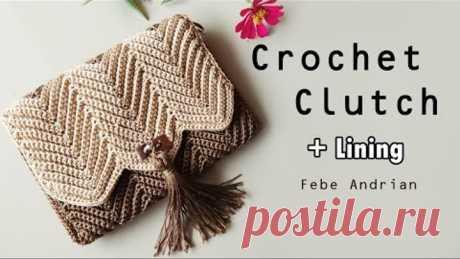 Crochet Clutch Bag || Dompet Rajut Motif Chevron
