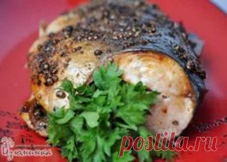 Sabroso gorbusha en el horno....... Los Ingredientes: 1 cuerpo gorbushi (o cualesquiera otros peces cartilaginosos); 1,5 art. de l. Los granos del coriandro; 1\/2 h. L. El pimiento negro; + 3 art. de l. El jugo de limón; 2 art. de l. El aceite de oliva; la sal por gusto.