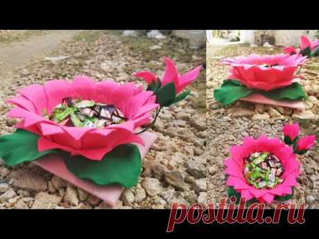 117) Ide kreatif - Tempat permen lebaran model bunga dari kain flanel    candy bunga    candy merak