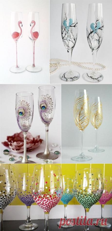 Роспись бокалов своими руками для начинающих и опытных декораторов