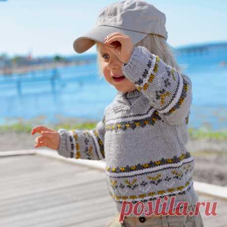 Детский пуловер с воротником-шалькой - схема вязания спицами. Вяжем Пуловеры на Verena.ru