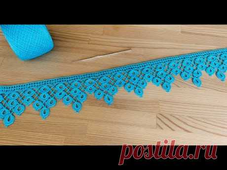 ЛЕНТОЧНОЕ КРУЖЕВО Капельки вязание крючком КАЙМА Crochet Ribbon Lace Border