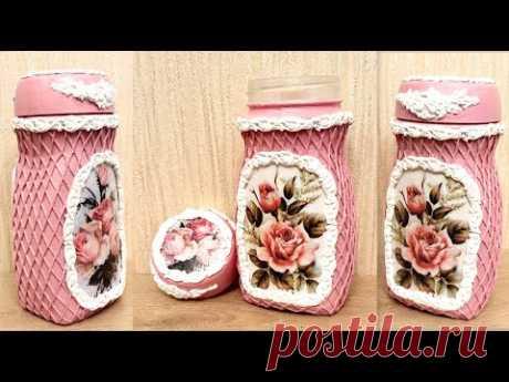 DIY/Decor recycled coffee jar /Decoupage on glass /Paper art