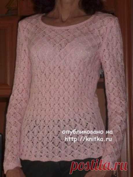 Пуловер с узором листья – работа Марины, Вязание для женщин