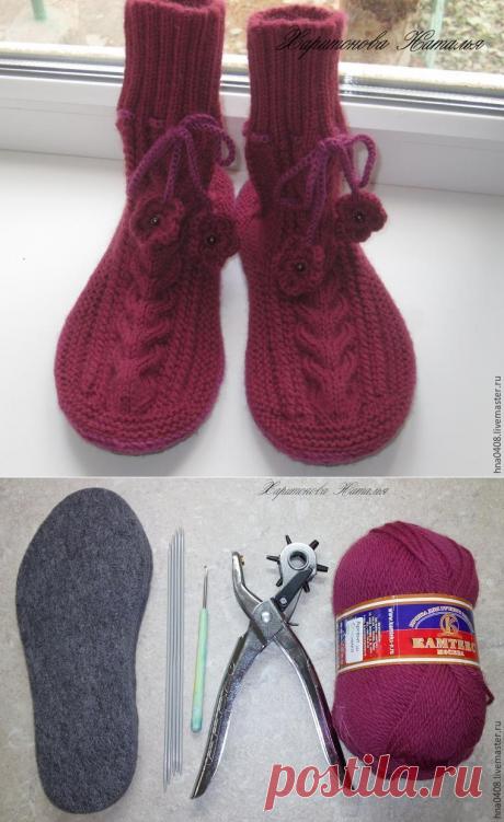 Вяжем уютные носки на войлочной подошве — Сделай сам, идеи для творчества - DIY Ideas