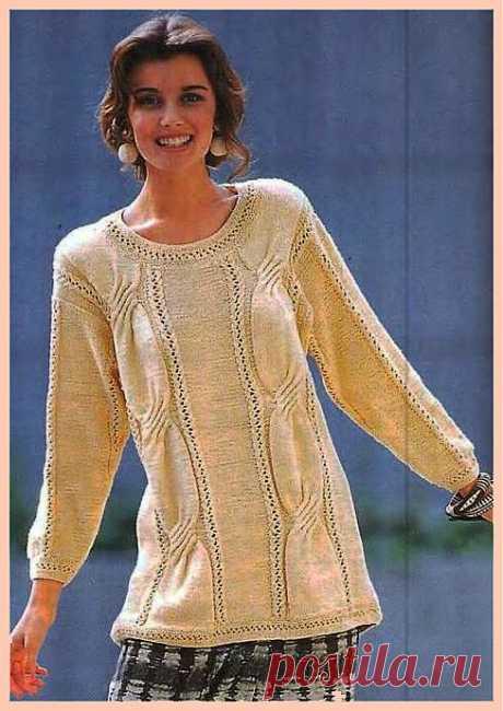 Длинный пуловер спицами..