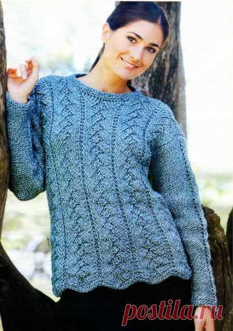 Пуловер *Ёлочки* и шапочка *Очаровашка* спицами | Офигенная