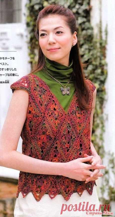 Меланжевый топ из ромбовидных мотивов. Крючок. Let's knit series NV4354 Vol.10 2008