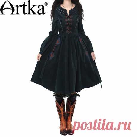 Artka 2015 женская ретро новая коллекция осеней одежды с рукавом фонарщики черное высококачественное элегантное платье с вышивкой LA10241Q купить на AliExpress