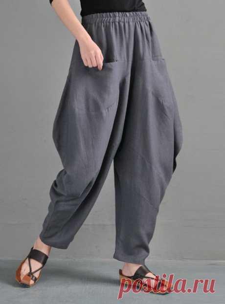 Gray Linen Harem Pants-Ruffled Bloomers For Women-Boho | Etsy