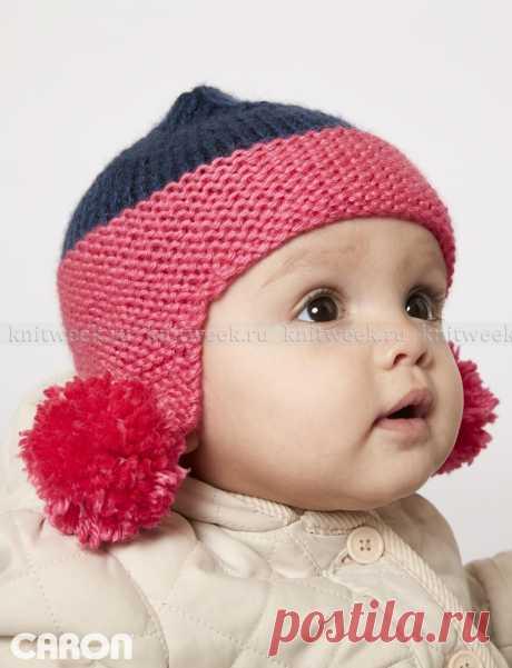 Шапка с ушками для малыша платочным узором