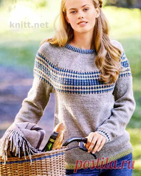Вязание классического пуловера с круглой кокеткой.
