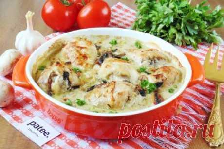 Куриные голени с грибами запеченные в сливках - рецепт с фотографиями
