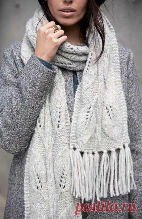 """Теплый шарф с узором """"Листья"""" — Shpulya.com - схемы с описанием для вязания спицами и крючком"""