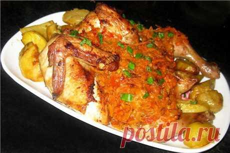 Цыпленок-Плакия (цыпленок по-болгарски). Плакия – это курица (или цыпленок), тушенная в овощном маринаде, по-болгарски. Название блюда произошло от греческого названия посуды, в котором оно традиционно готовилось, - плаке. Это широкая медная кастрюля без крышки с невысокими бортиками, напоминающая сотейник.