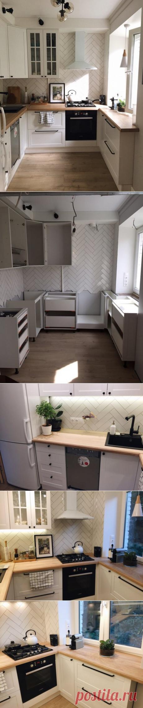 Супер стильная Кухня Икеа Сэведаль с необычной раскладкой фартука ёлочкой! С посудомойкой, холодильником и кучей мест хранения!