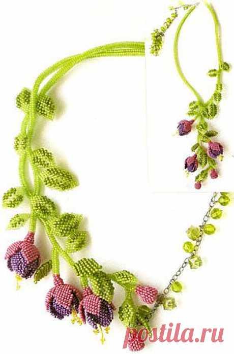 Колье из бисера «Фуксия» » Вязание, вязание спицами, вязание крючком, Схемы вязания, вышивание, макраме, бисероплетение - все это на нашем сайте
