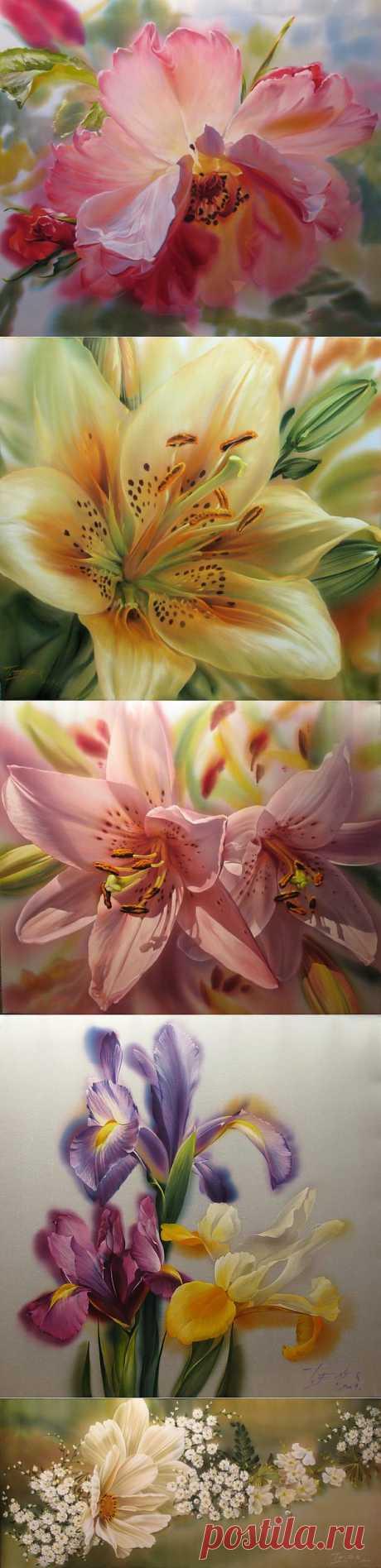 Красота цветов Елены Тенер.Батик..