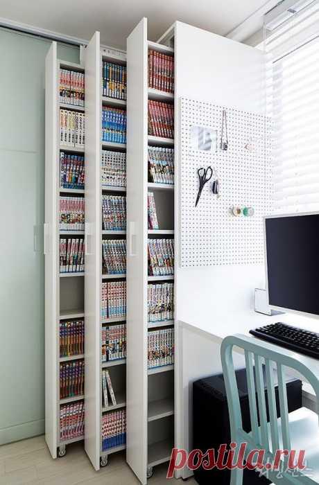 Выдвижные книжные шкафы Модная одежда и дизайн интерьера своими руками